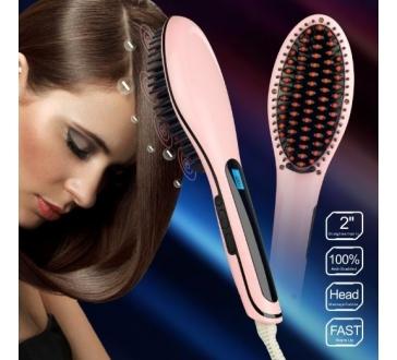Digitální antistatická keramická žehlička s kartáčem na vlasy